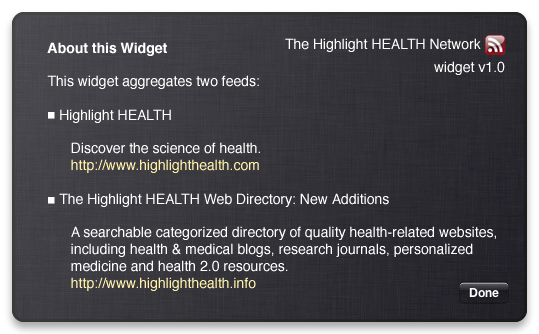 Highlight HEALTH Network dashboard widget back