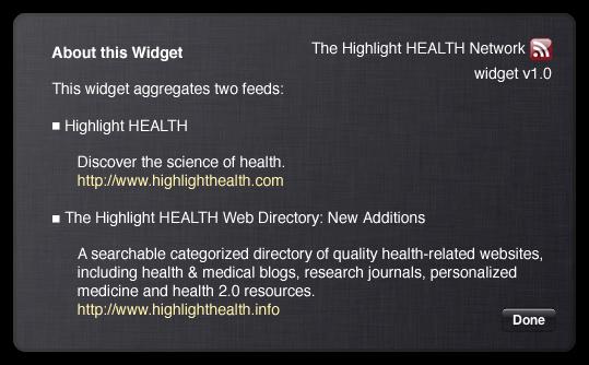 Highlight HEALTH Network dashboard widget back