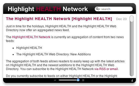 Highlight HEALTH Network dashboard widget front