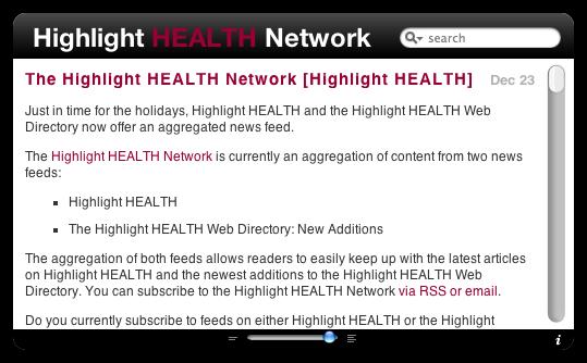 Highlight HEALTH Network dashboard widget front