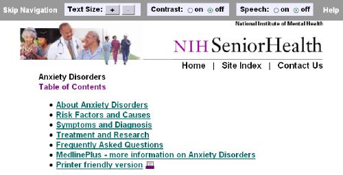 NIH Senior Health - Anxiety Disorders