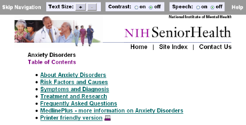 NIH Senior Health - Anxiety Disorders