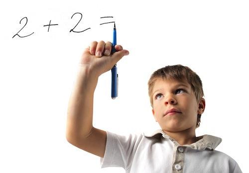 Child with a math problem