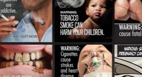 Graphic images on cigarette packs