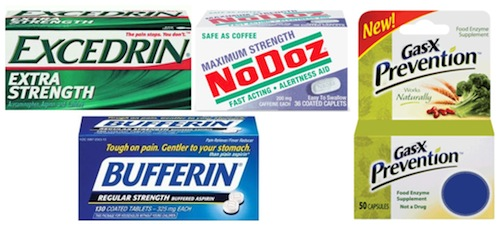Excedrin Bufferin NoDoz Gas-X