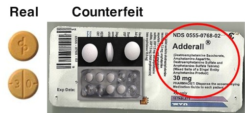 Authentic vs counterfeit Adderall
