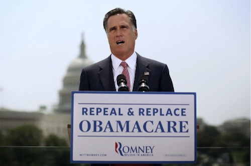 Mitt Romney flip flops on healthcare reform
