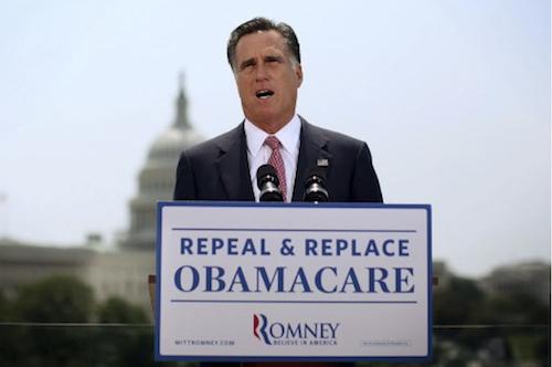 Mitt Romney flip flops on healthcare reform