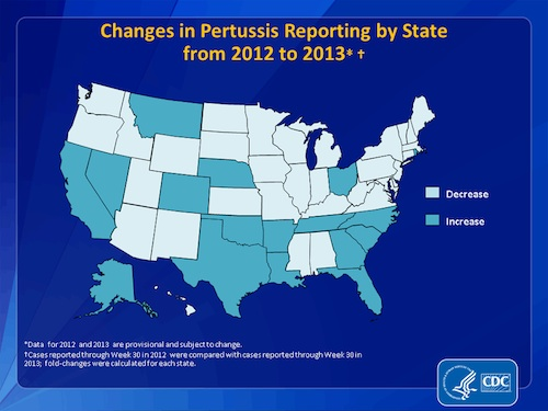 Chages in pertussis reporting by state from 2012 to 2013